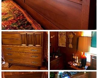 Vintage MCM bedroom set by Hooker.  Walnut, beautiful and rare.  Highboy with sliding door, triple dresser with mirror, awesome headboard, and three nite stands.