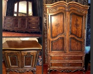 Drexel Heritage Bedroom Suit- Armoire, Triple Dresser + Mirror, and Small Chest