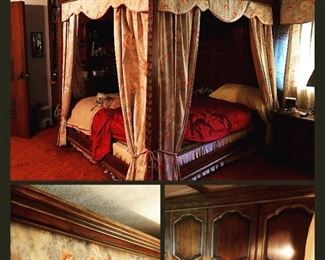 Drexel Heritage Canopy bed with custom drapery  detail pics of the raised cathedral panel, full height headboard!!!