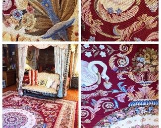 Fabulous Swan + Acanthus + Rosette detailed Needlepoint Rug