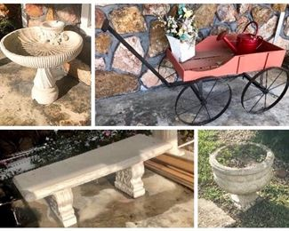 Concrete Garden items and sweet little Amish Garden flower 🌸 cart
