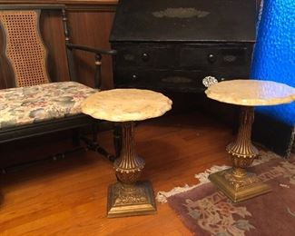 Hollywood regency pedestal tables with cultured marble tops