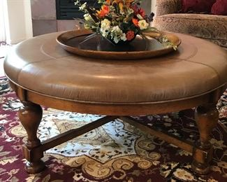 Leather top round coffee table