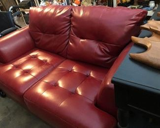 vinyl  retro loveseat in red