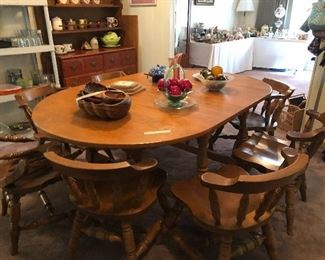 solid wood dining table and 6 ch.