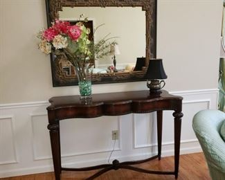 Mahogany console table with mirror