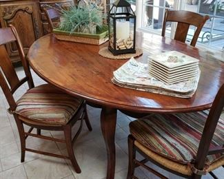 Oval table and six side chairs