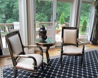 Silk fabric chairs, accent table urn