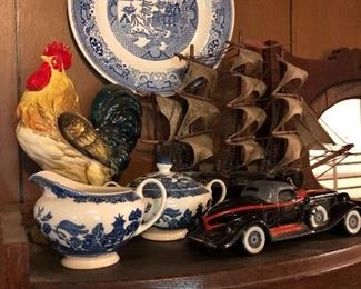 A sample of the set of Blue Willow dishes,  vintage auto Avon bottle, and a vintage ceramic Rooster