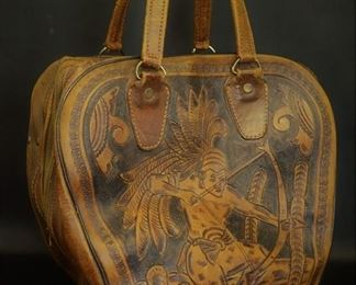 Vintage Tooled Leather Bowling Ball Bag