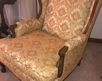 French provincial wing back chair
