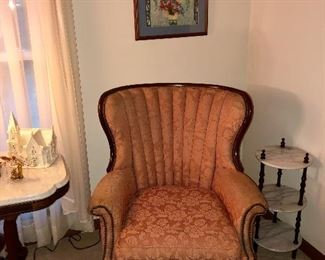 1920s rose colored wing backed chair, crewel embroidery picture