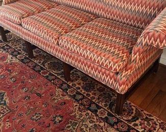 Flame stitch Century camel back sofa