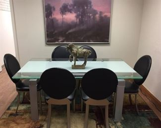Modern Adjustable Glass Dining or Conference Table with 6 Chairs.