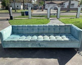 Beautiful velvet extra long light aqua blue sofa