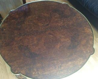 Burl Top Coffee Table w/ Gilt Metal Apron