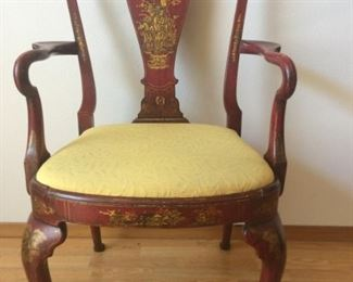 Antique English Hand Painted Queen Ann Style Arm Chair