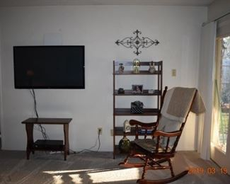 Rocker, TV Stand and assorted decor