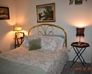 Faux Brass Bed with Box Springs and Mattress
