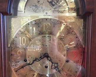 Closeup of grandfather clock face