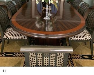 Custom made dining room table with 10 chairs (2 armchairs) Asking price is $7000. New it was $16,000 for the table and $600 for each chair.