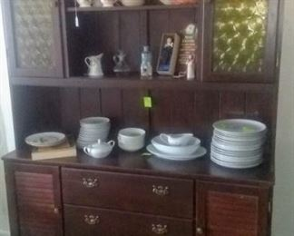 Mid Century China hutch.  There is also a matching pedestal table, 2 leaves, 6 chairs.