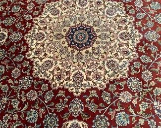 Silk on silk. A precision of Turkey's  double knots allow clear display of pattern and color combination.  A highly collectible silk rug from Turkey. Paid $6000