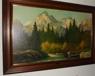 Framed oil on board picture 'In The Tetons' by R. Wood