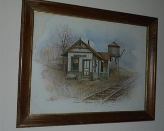 Framed picture of 'Train Depot' by Ruby Nippins