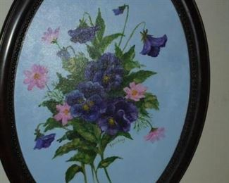 Framed oval oil painting on canvas 'Flower Arraignment'  by Ann Spurling