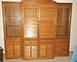 ENTERTAINMENT CENTER & SEPARATE DISPLAY CABINETS