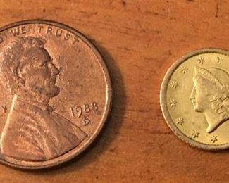 1851 Liberty Head Gold One Dollar