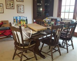 Trestle table with 6 chairs