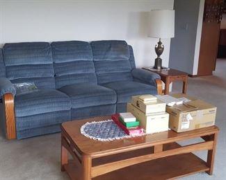 Sofa, oak coffee table and oak end tables