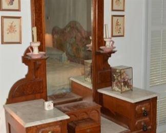 Antique Victorian Eastlake Walnut Marble Top Dresser with Mirror