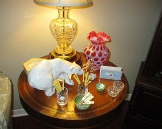 Fenton coin dot vase - pair of crystal table lamps