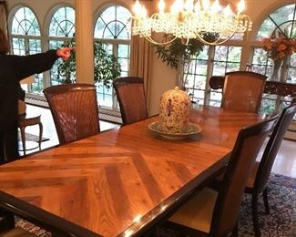 41 X 108 Inches (including 2 leaves, 18 inches each) Flair Lenoir NC for Hibriten Furniture Company Dining Room Set