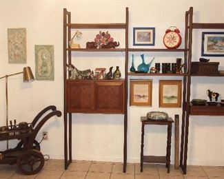 Mid Century Wall Unit w/ Mexican Pottery, Mid C. Glass, Oriental Decoration and more