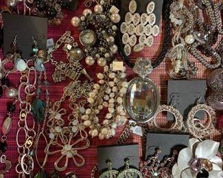 Quality silvertone newer statement costume jewelry, 50% off