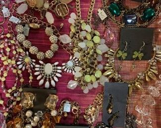 Quality goldtone and coppertone newer statement costume jewelry, 50% off