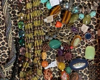 Quality goldtone and coppertone newer statement costume jewelry (beaded pieces are handmade,) 50% off