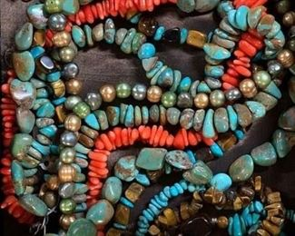 Collection of coral, turquoise, tiger's eye and freshwater pearl statement necklaces, 50% off