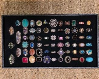 Sterling silver rings, many with genuine semi-precious stones, 50% off