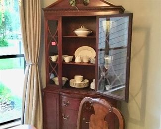 China cabinet with lovely set of dishes