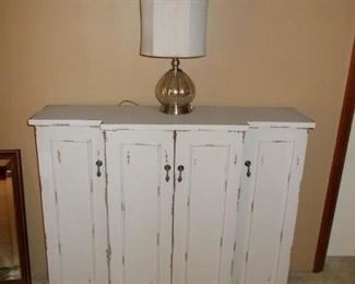 rustic sideboard, lamp