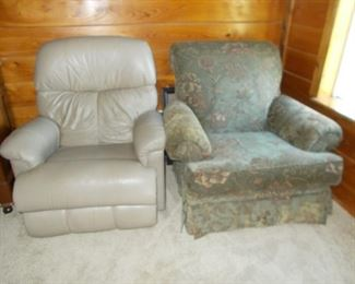leather recliner, upholstered chair