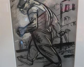"Peter Howson                                                                          ""Hyper""                                                                                               1991 Chalk on Paper                                                                             22.44 x 18.5 inches"