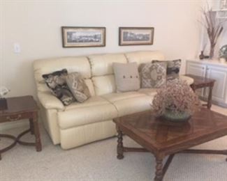 Leather reclining Sofa, endtables, coffee table