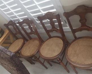 Antique parlor chairs with cane seats