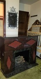 Mid Century Fake Fireplace with Drop Down Bar, Radio Record Player
